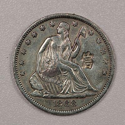 1868-S Seated Liberty Half Dollar *XF with Chopmarks