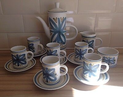 Collectable Cinque Ports Rye Pottery 15 Piece Coffee Set Blue Cream Retro
