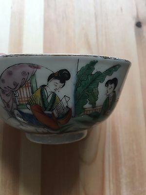 Hand painted vintage Chinese porcelain rice bowl and spoon