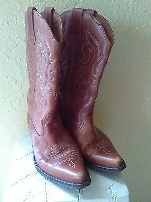 Leather Cowboy Boots Size 40 Made In Spain Size 6.5 Uk
