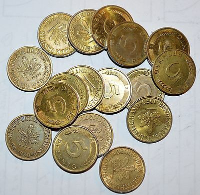 GERMANY lot 5 PFENNIG world foreign vintage brass 17 COINS
