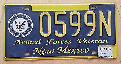 "New Mexico Armed Forces Veteran License Plate "" 0599 N "" Nm Navy Naval Usn"