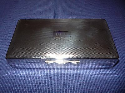 Vintage Silver Box Aristocrat Engine Turned EPNS Wood Lined Box Initials DPO