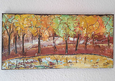 abstract landscape painting Autumn Trees 25X50 cm