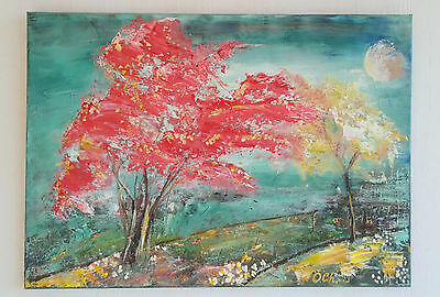 abstract landscape painting Red Tree 50X70 cm