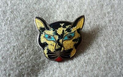 Vintage Sterling Silver Enameld Cat Face Brooch / Pin - Mexico