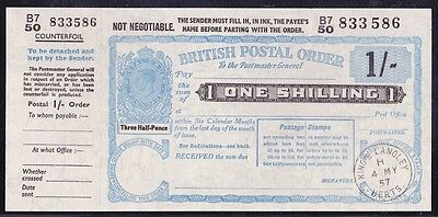 GREAT BRITAIN 1957 KGVI 1/- Postal Order superb UNC !!   pale blue