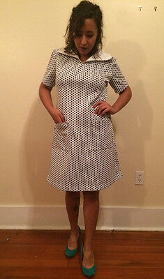 Medium Handmade Vintage 1960s Mod Dress with White with Collar and Blue Polka Do