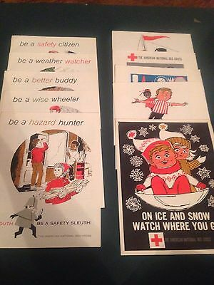 Lot 18 Vintage 1966 60's Red Cross Youth Safety Sleuth Posters Teacher Lessons