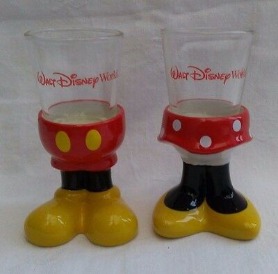 WALT DISNEY WORLD Mickey & Minnie Mouse Legs Shot Glass His & Hers