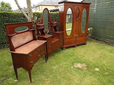 An Edwardian Inlaid Mahogany 3 Piece Bedroom Suite Wardrobe Dresser Washstand