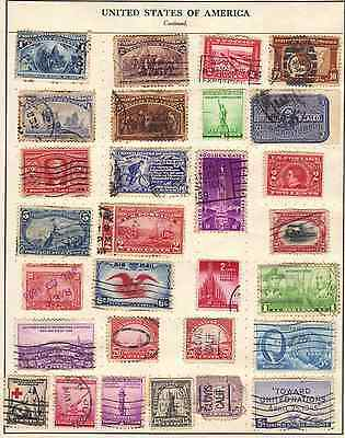 USA Stamps, Job Lot of 105 Vintage Stamps on Album Pages. Mixed Condition.