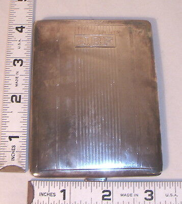 STERLING SILVER ART DECO ENGINE TURNED CIGARETTE CASE 1930s