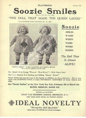 1924 Ideal Soozie Smiles Composition Dolls Two face doll Rare Toy Ad