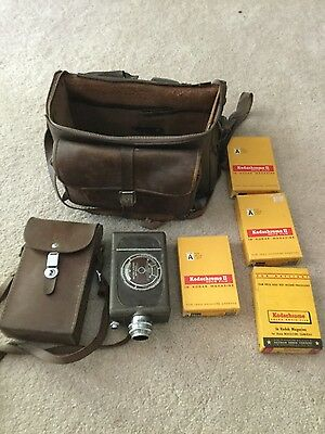 Vintage Bell & Howell 16mm Auto Load Movie Camera with Film, Case & Accessories