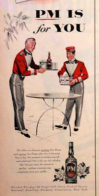 1954 PM Wine Ad - Retro 1950s Vintage Advertising Page - 50s