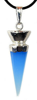 PENDANT - BLUE CHALCEDONY Faceted Crystal Point w/Sterling Silver Cap w/Card