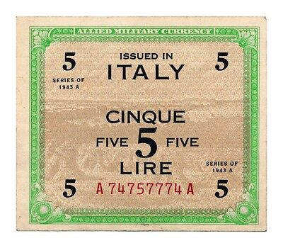 ITALY banknote 5 LIRE 1943 A