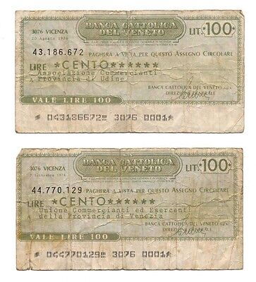 ITALY banknote 2 x 100 LIRE 1976.