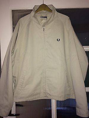 Fred Perry Mens Vintage Harrington Jacket Top Size Large Cream Classic MOD SKA