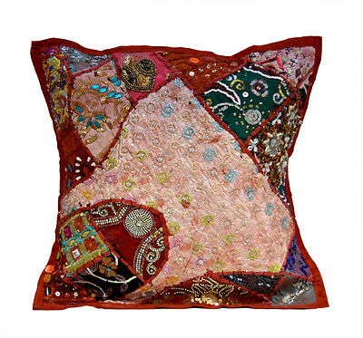 An Red Ethnic Heavy Embroidery Sequin Patchwork USA Pillow Cushion Cover ACC613