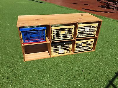 Toy Storage Solution 6 Baskets Wooden Unit Playroom Bedroom