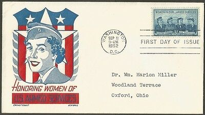 Us Fdc 1952 Women In Our Armed Services 3C Cachet Craft K Boll First Day Cover