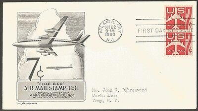 Us Fdc Fire Red 1960 7C Air Mail Coil Stamp Aero Philatelists Inc Atlantic City