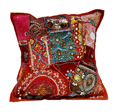 An Red Heavy Embroidery Sequin Patchwork USA Ethnic Pillow Cushion Cover ACC606