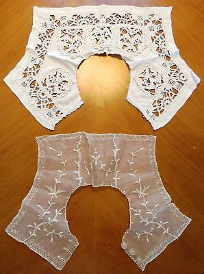Antique Collars Crochet Lace White Dress Front Back Cotton 2 pc French Handmade
