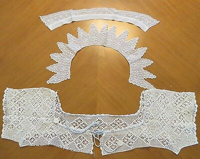Antique Collars Crochet Lace Handmade Front Back Insert Dress Bodice 3 pieces