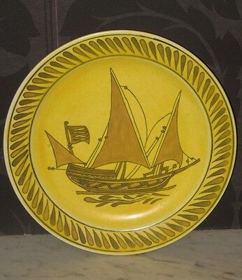 SITKI OLCAR - LARGE Yellow Ochre POTTERY CHARGER Turkish OLÇAR SHIP  SIGNED RARE