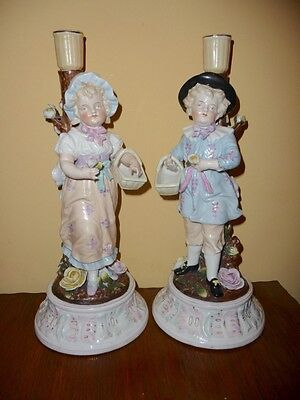 "SITZENDORF - Antique Pair - CANDLESTICKS - Boy and Girl - PORCELAIN 13"" 33cm"