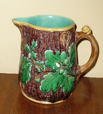 MINTON MAJOLICA Snail & Acorn JUG - LARGE SIZE - BEAUTIFUL CONDITION