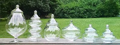 Vintage Glass Apothecary Display Candy Art Glass Vanity Storage Jar Lot