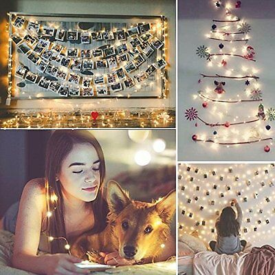 LED 100 Solar Powered String Lights Warm White Garden Home Wedding Party 7M