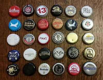 30 x Bottle top crown caps • Worldwide • All different