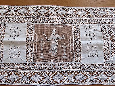 Antique Lace Runner Italian Embroidered Linen Filet White Table Dresser Scarf