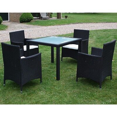 #9 Piece Outdoor Garden Furniture Set Table Chairs Seat Cushions Poly Rattan