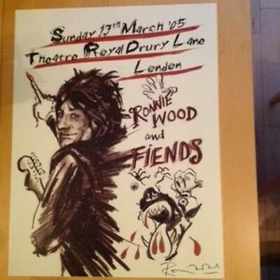 RONNIE WOOD & FRIENDS RARE 2005 DRURY LANE POSTER 13th MARCH LTD EDITION FACES