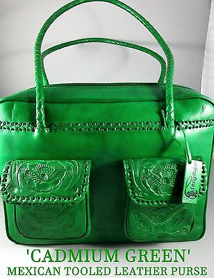 "Guadalajara~Superbly Made~""Cadmium Green""~Hand Tooled Leather Western Purse"
