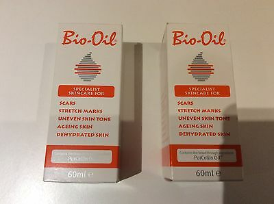 Bio Oil 60ml x 2 bottles. 1 new unopened. 1 used twice. Stretch marks