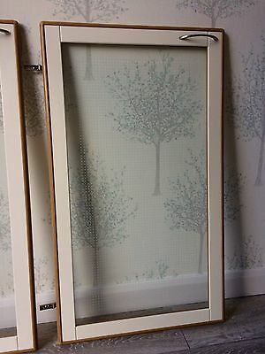 Kitchen Glass Display Cabinet White Gloss & Wood Style Trim Doors X 4  & Fixings