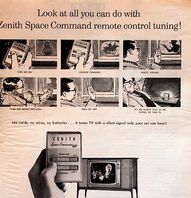 1961 Zenith Space Command TV Remote Control Ad - Vintage Advertising Page 60s