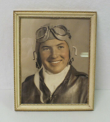 Vintage 1940's WWII US Air Force Aviation Pilot Hand Tented Portrait