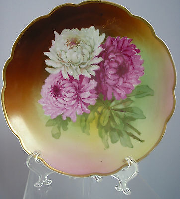 """7 7/8"""" Antique  Hand Painted Turin Bavaria Plate Victorian Mums"""