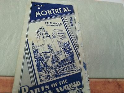 1940 Map Of Montreal Canada  - Paris Of The New World