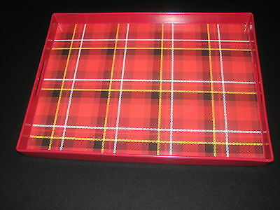Red plaid Large tray