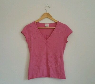 Vintage Women's NEXT Cute Pink V Neck Tshirt With Floral Embroidery