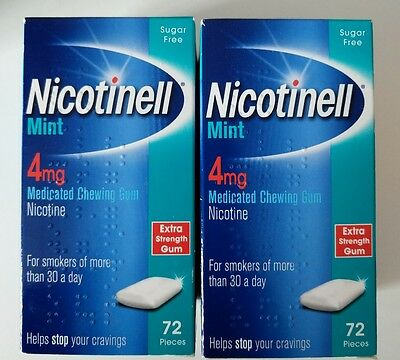 Nicotinell Mint 4mg Medicated Chewing Gum -72 pieces x2 boxes